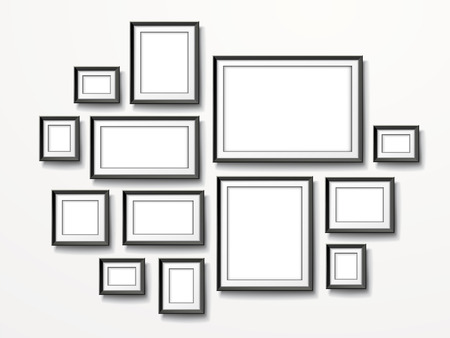 photo gallery: blank picture frames set isolated on white wall