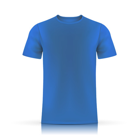 t shirt printing: blue T-shirt template isolated on white background Illustration