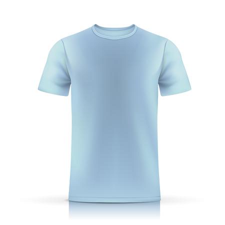 흰색 배경에 고립 된 라이트 블루 티셔츠 템플릿