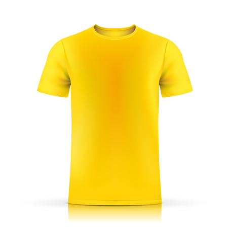 yellow T-shirt template isolated on white background