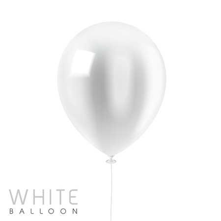 close up look at white balloon isolated on white Ilustracja