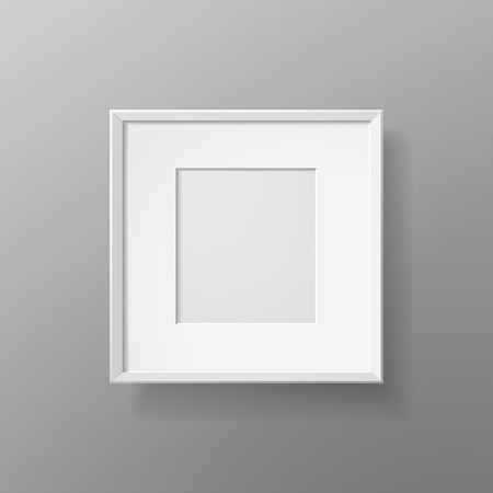 blank picture frame isolated on grey wall Vector
