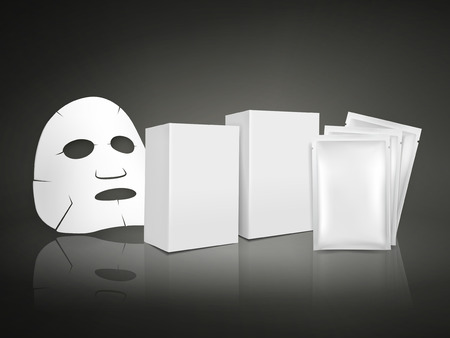 facial mask and blank package for cosmetics isolated on white background Vector