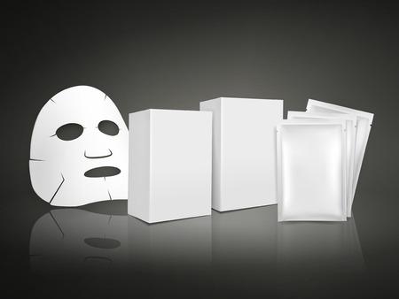 antifaz: m�scara facial y paquete en blanco para cosm�ticos aisladas sobre fondo blanco Vectores