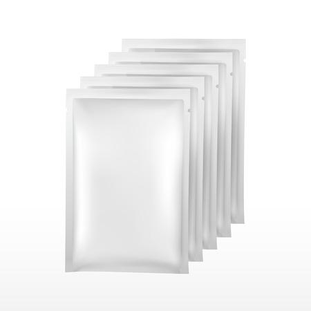 sachet: blank plastic package for cosmetics set isolated on white background Illustration