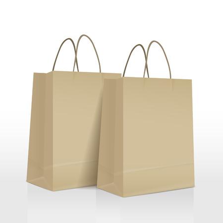 茶色の紙袋に分離の白い背景を設定します。  イラスト・ベクター素材