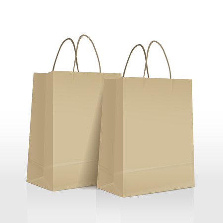brown paper bags set isolated on white background