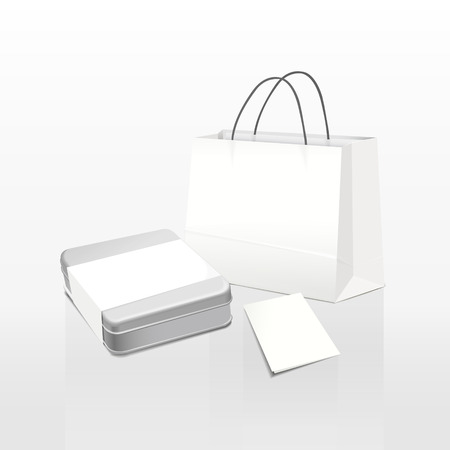 white paper bag and metal box isolated on white background Vector