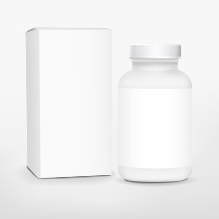 medicine box: blank medicine bottle and package isolated on white background