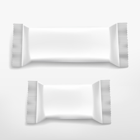 sachets: blank white food packaging set isolated on white background