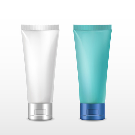 cosmetic packaging tube set over white background Vector