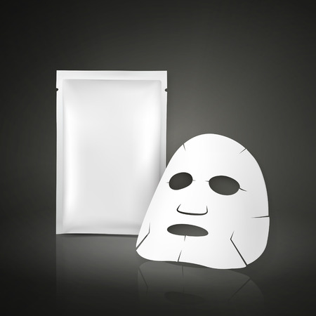 packet: facial mask and blank package for cosmetics isolated on white background Illustration