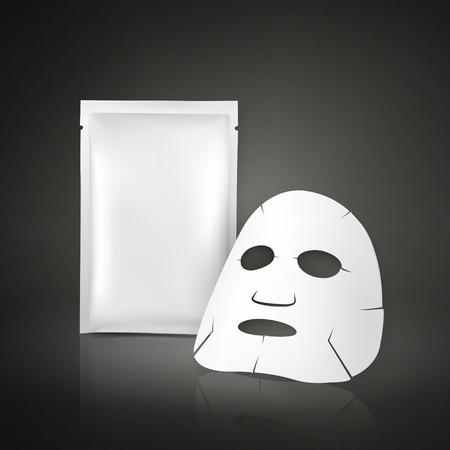 limpieza de cutis: m�scara facial y paquete en blanco para cosm�ticos aisladas sobre fondo blanco Vectores