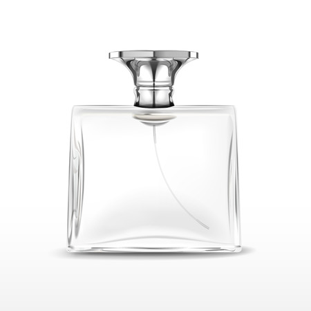 elegant empty perfume bottle isolated on white background Ilustração