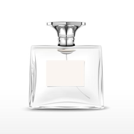 elegant lege parfumflesje met label geïsoleerd op witte achtergrond