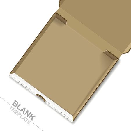 caja de pizza: la pizza abierto la casilla plantilla aisladas sobre fondo blanco Vectores