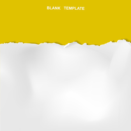 ripped paper template isolated on yellow background Vectores