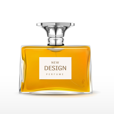 fragrances: elegant perfume bottle with label isolated on white background Illustration