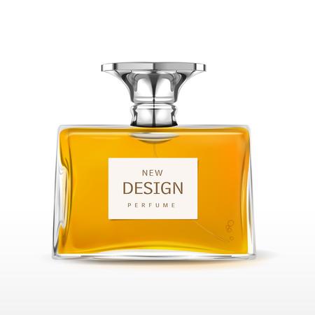 botella: elegante frasco de perfume con la etiqueta de aislados en fondo blanco