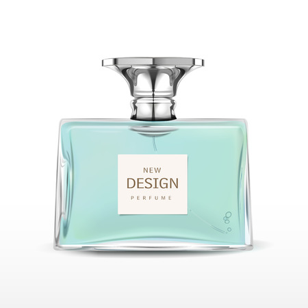 elegant perfume bottle with label isolated on white background Stock Illustratie