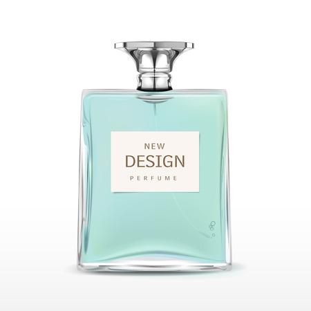 Elegante frasco de perfume con la etiqueta de aislados en fondo blanco Foto de archivo - 33851728
