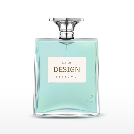 elegant perfume bottle with label isolated on white background Illustration