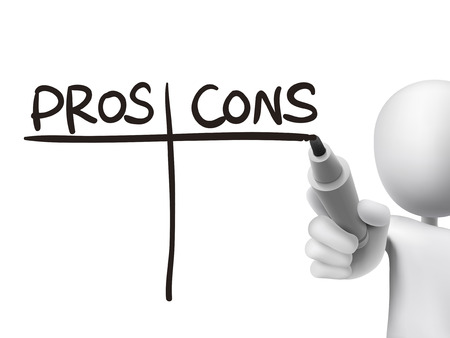 cons: pros and cons words written by 3d man over transparent board