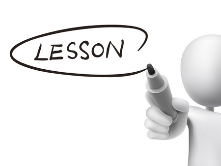 lesson word written by 3d man over transparent board Vector