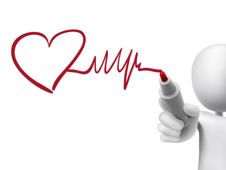 heart and heartbeat symbol drawn by 3d man over transparent board Vector