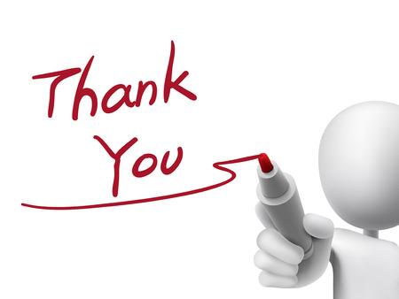 Danke Worte des Mannes 3d über transparente Tafel geschrieben Standard-Bild - 33954152