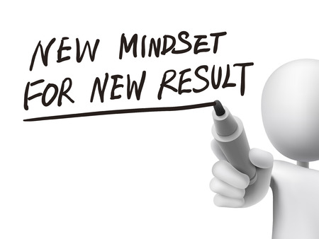 mindset: new mindset for new results written by 3d man over transparent board
