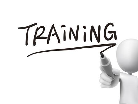 training woord geschreven door 3d man over transparante boord