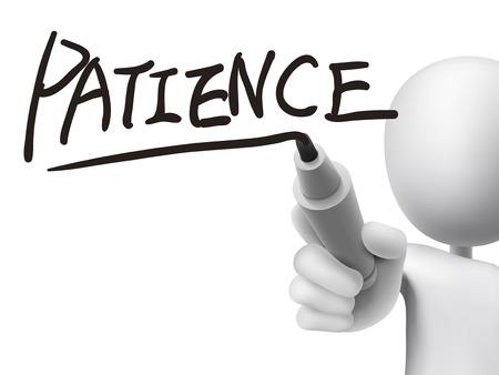 paciencia: palabra paciencia escrita por el hombre 3d sobre tablero transparente