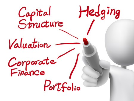 hedging: corporate finance concept written by 3d man over transparent board Illustration