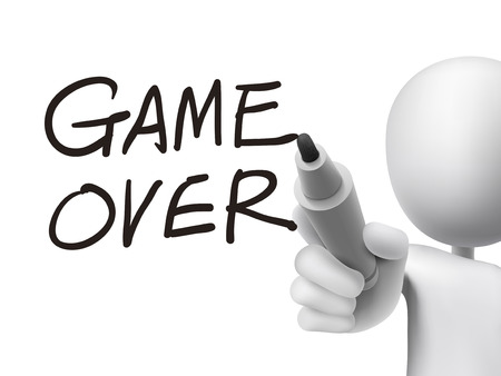 game over: game over words written by 3d man over transparent board