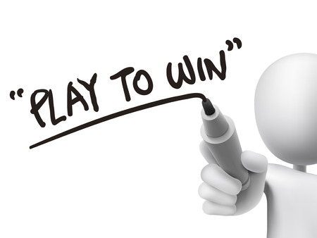 lucky man: play to win words written by 3d man over transparent board