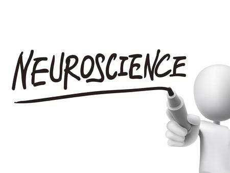 neuroscience: neuroscience word written by 3d man over transparent board