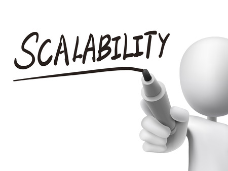 scalability: scalability word written by 3d man over transparent board