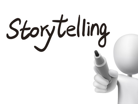 tell stories: storytelling word written by 3d man over transparent board