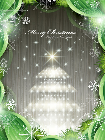 shinny: shinny Christmas tree isolated on wooden background