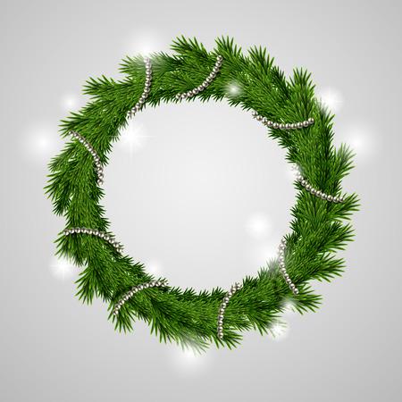 adventskranz: traditionelle gr�ne Weihnachten Kranz isoliert auf grauem Hintergrund Illustration