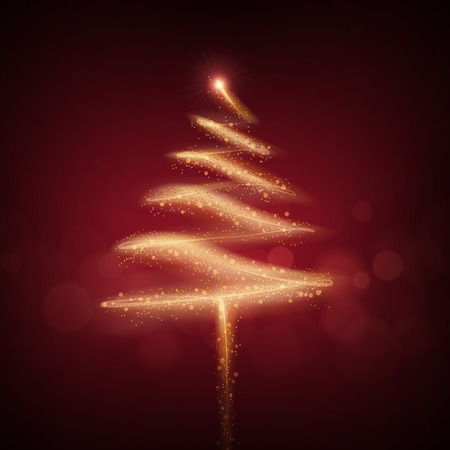 sparkler: Christmas tree made by sparkler isolated on red background Illustration