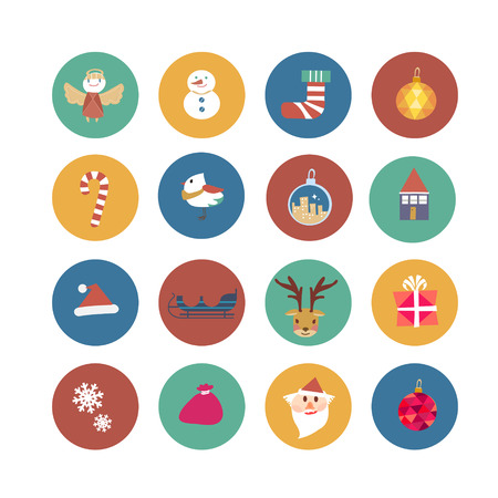 lovely Christmas ornaments set in flat design