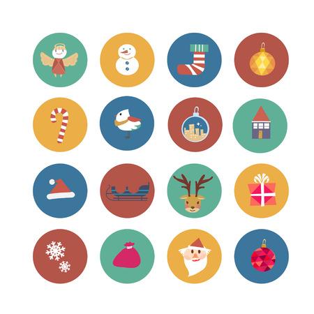 mooie Kerst ornamenten in platte ontwerp Stock Illustratie