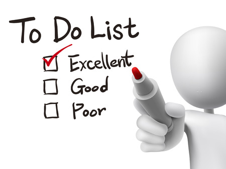to do list checking by 3d man over transparent board Vector
