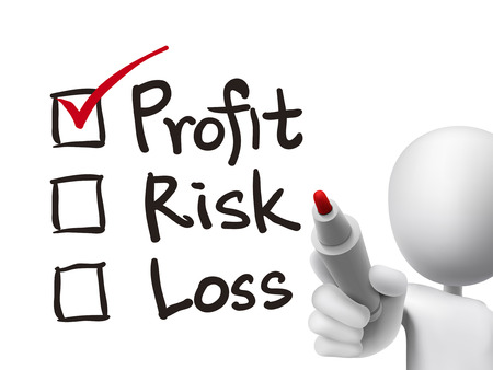 profit and loss: investment checklist checking by 3d man over transparent board Illustration