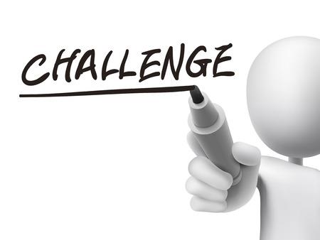 Słowo wyzwaniem napisany przez 3d człowieka na przezroczystej płytce Ilustracje wektorowe