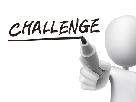 challenge word written by 3d man over transparent board