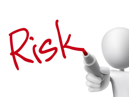 risk word written by 3d man over transparent board Vectores