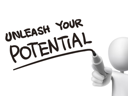 potential: unleash your potential words written by 3d man over transparent board